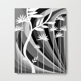 Black and White Botanical Illustration Curved Background and Plants Metal Print