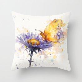 Flowers & Flutters Throw Pillow