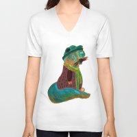 squirrel V-neck T-shirts featuring squirrel by Hadar Geva