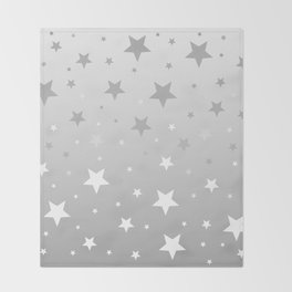 Scattered Stars Ombre Pale Silver Gray to White Throw Blanket