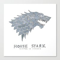 sansa Canvas Prints featuring House Stark- Game of Thrones by 366Sketchbook