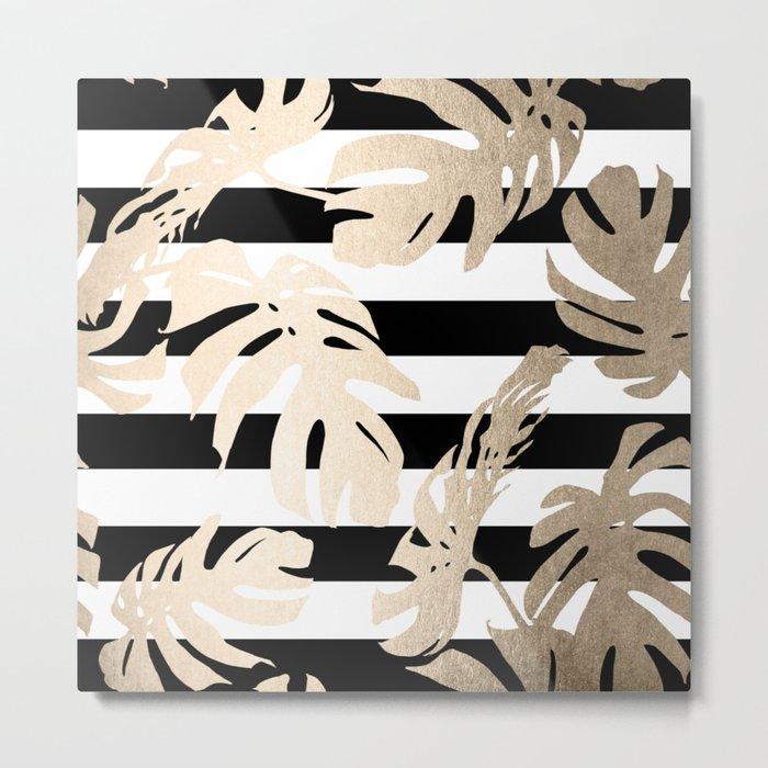 Simply Tropical Palm Leaves on Stripes Metal Print