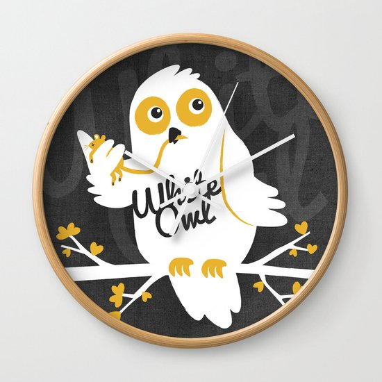White Owl Wall Clock