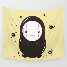 Spirited Away No Face Kawaii With Soot Sprites Wall Tapestry