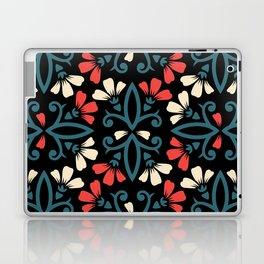 Decorative Floral Pattern 28 - Black, Ming Blue, Flamingo Red, Givry Laptop & iPad Skin