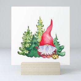 Scandinavian gnome in forest Mini Art Print