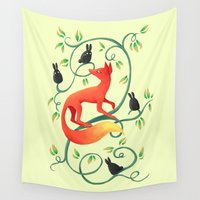 bunnies Wall Tapestries featuring Bunnies and a Fox by Freeminds
