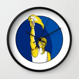 Athlete With Flaming Torch Drawing Wall Clock
