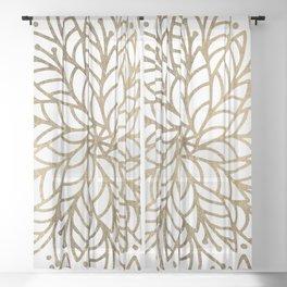 Elegant white faux gold floral trendy mandala Sheer Curtain