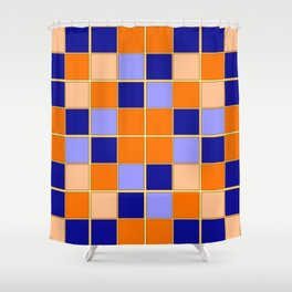 Blues and oranges check Shower Curtain