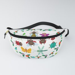 Funny insects Spider butterfly caterpillar dragonfly mantis beetle wasp ladybugs Fanny Pack