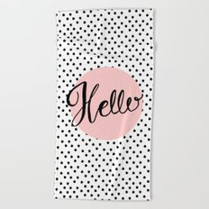 Hello Dots Hand Lettering - pink Beach Towel