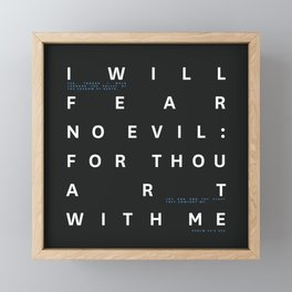 Psalm 23:4 Typography Quote - Blue Framed Mini Art Print