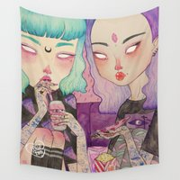 loll3 Wall Tapestries featuring Pizza Party by lOll3