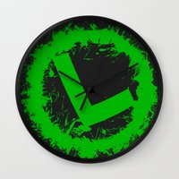 luigi Wall Clocks featuring Luigi Splat by Donkey Inferno