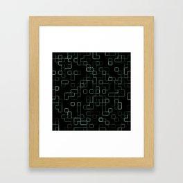 Green neon mosaic technology pattern Framed Art Print