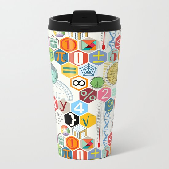 Math in color (white Background) Metal Travel Mug