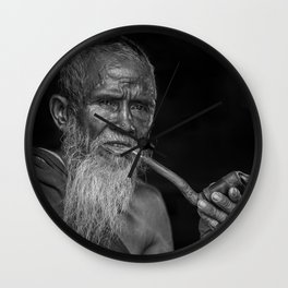 Portrait of an Elderly Man Smoking Pipe Wall Clock