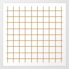 Grid (Bronze/White) Art Print
