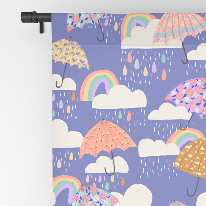 Spring Rain with Umbrellas Blackout Curtain