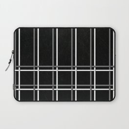 White & Gray Pinstripes on Scratched Black Grunge Illustration - Graphic Design Laptop Sleeve