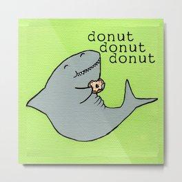 Shark Gets Donut Metal Print