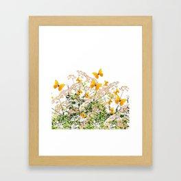 WHITE ART GARDEN ART OF YELLOW BUTTERFLIES Framed Art Print