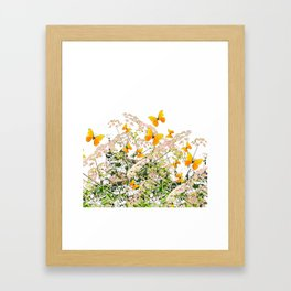 WHITE ART GARDEN ART OF YELLOW BUTTERFLIES Framed Art Print