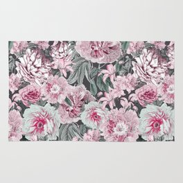 Nostalgic Flower Pattern Teal And Pink Rug