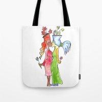 lesbian Tote Bags featuring lesbian flower women kiss by Nehalennia