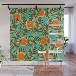Oranges On Teal Exotic Wall Mural