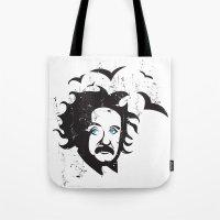 einstein Tote Bags featuring Einstein by KaytiDesigns