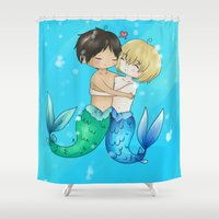snk Shower Curtains featuring Mer!Eremin by Sir-Snellby