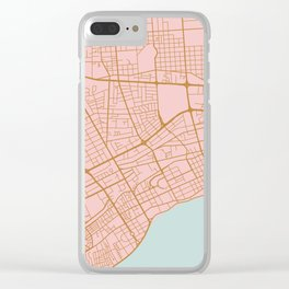Pink Santo Domingo map Clear iPhone Case