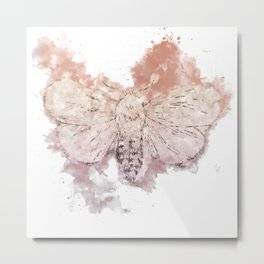 Moth Guided by Lunar Passion Metal Print