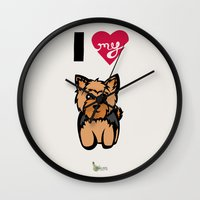 yorkie Wall Clocks featuring I Love My Yorkie by Gellygen Creative
