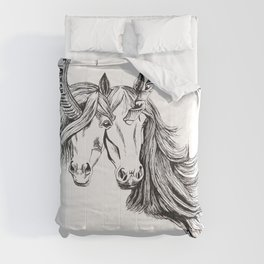 Conjoined Unicorns Comforters