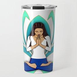 Woman with lotus Namaste Travel Mug