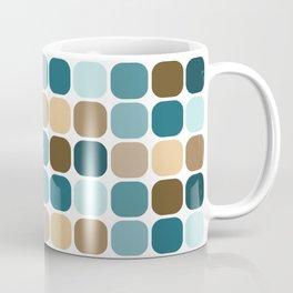Mid Century Modern Rounded Square Tile Pattern // Brown, Caribbean Blue, Aqua Coffee Mug