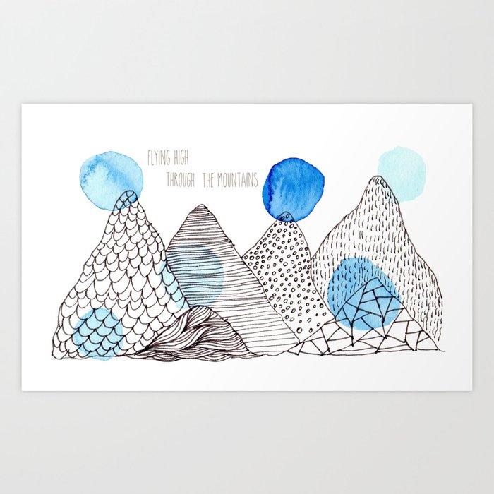 Flying high through the mountains Art Print