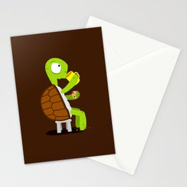 Turtle drinking tea with cookies. Stationery Cards