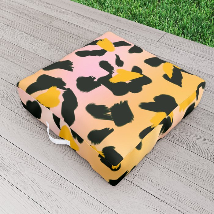 Painted Leopard Skin with Pink/Yellow Tint Background #decor #society6 #buyart Outdoor Floor Cushion