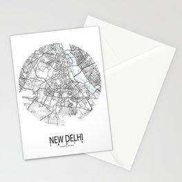 New Delhi City Map of India - Circle  Stationery Cards