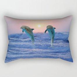 Dolphins at sunrise Rectangular Pillow