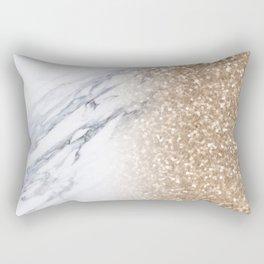 Bronze Copper Gold Glitter White Gray Marble Luxury III Rectangular Pillow