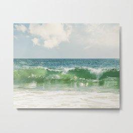 Ocean Sea Landscape Photography, Seascape Waves, Blue Green Wave Photograph Metal Print