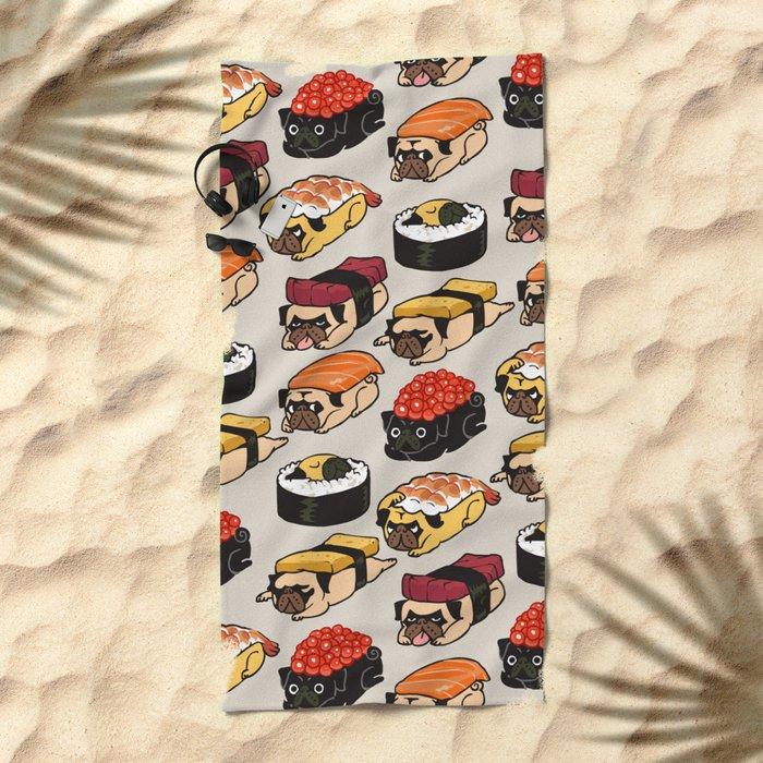 Sushi Pug Beach Towel