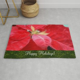 Mottled Red Poinsettia 2 Happy Holidays S6F1 Rug