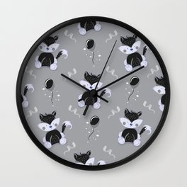 Happy Birthday Black Fox Grey Background Pattern Wall Clock