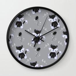 Happy Birthday Black Fox Grey Background Pattern Wall Clock